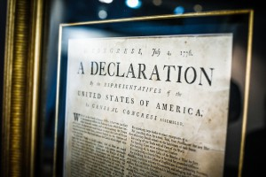 The exhibition included an original Boston printing of the Declaration of Independence